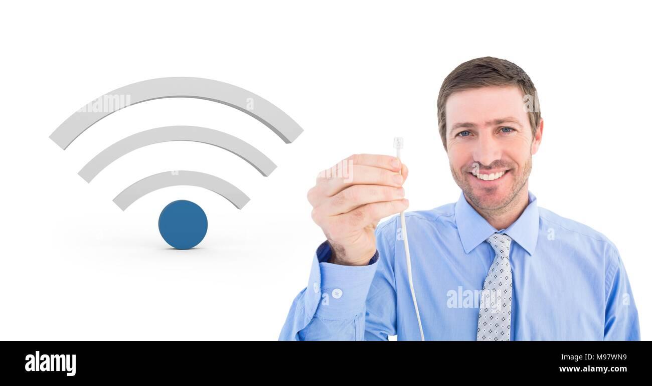 Hombre sujetando el cable con conexión wi-fi icon Imagen De Stock