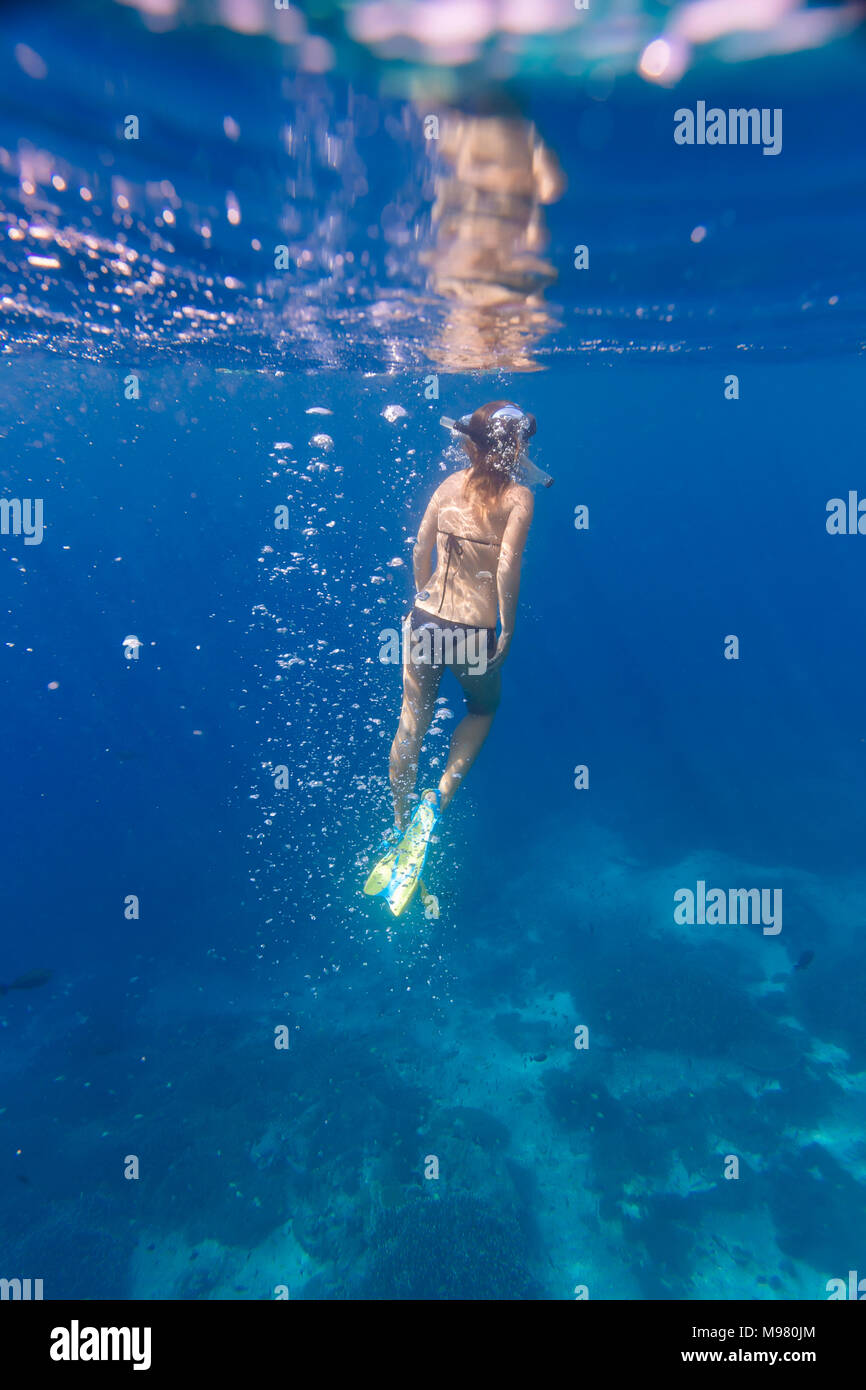 Mujer con aletas y snorkel buceo bajo el agua. Foto de stock