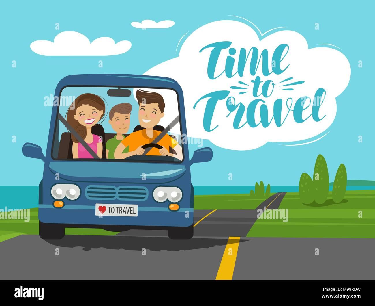 Vector Feliz Viaje Familia: Tiempo Para Viajar, Concepto. Paseos En Coche De Familia