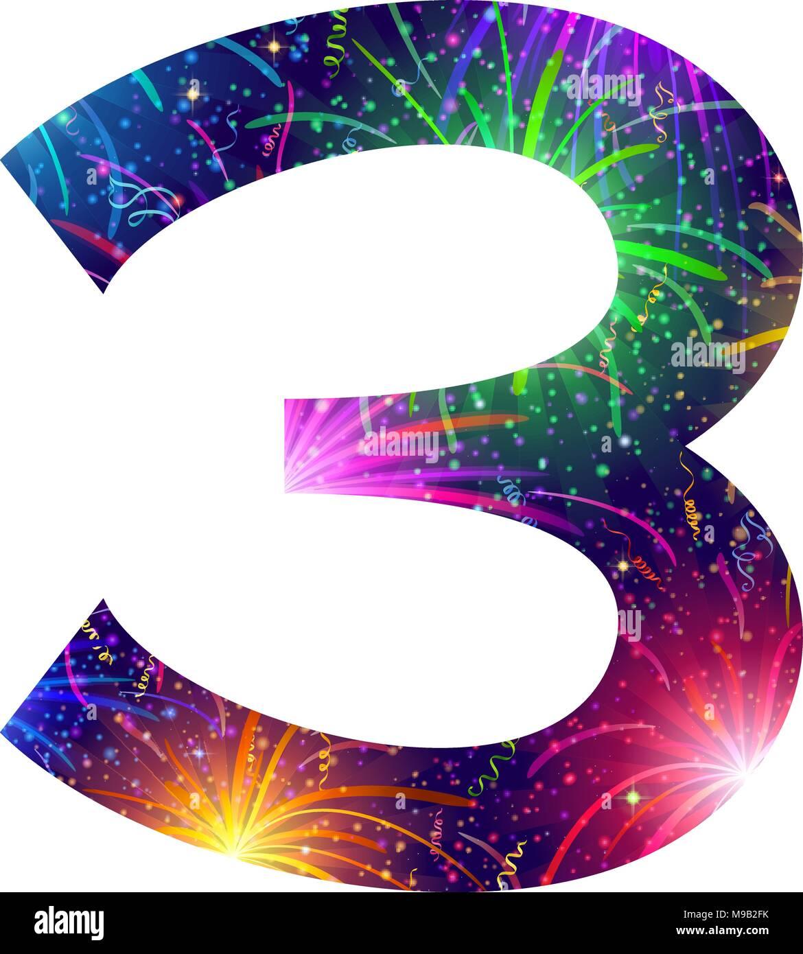 Número de coloridos, tres fuegos artificiales Imagen De Stock