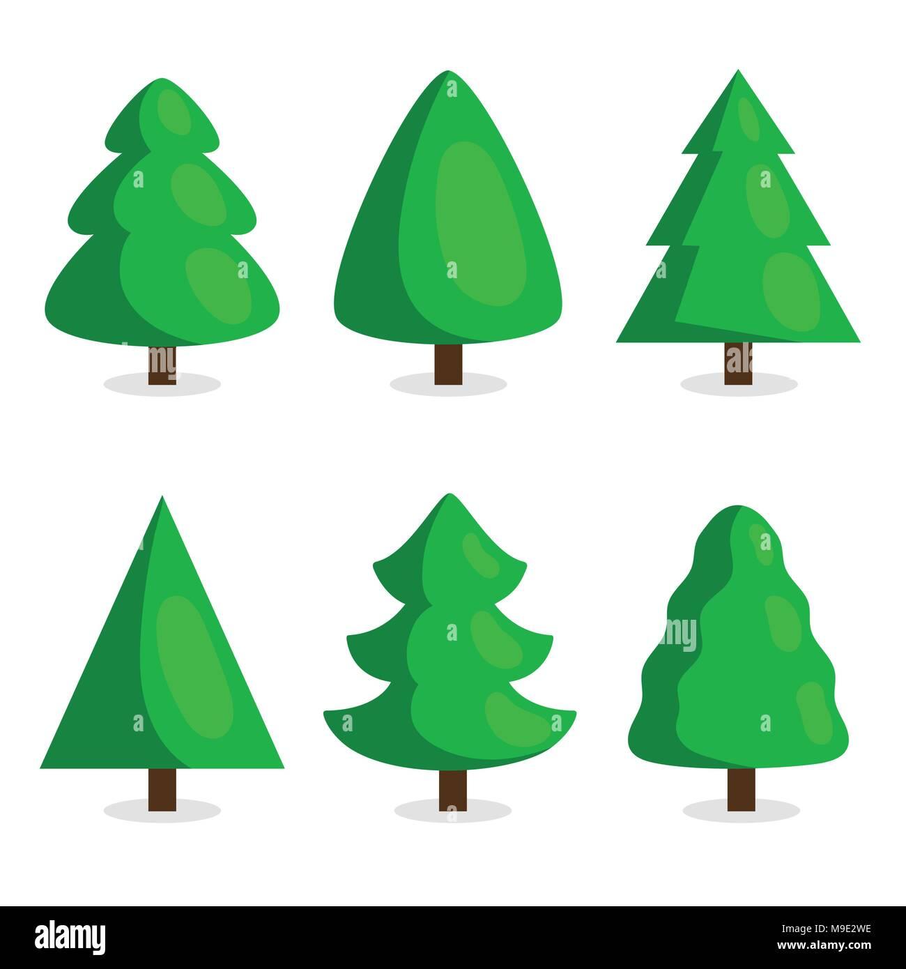Fotos De Arboles De Navidad En Dibujos.Arbol De Navidad Verde En Estilo De Dibujos Animados