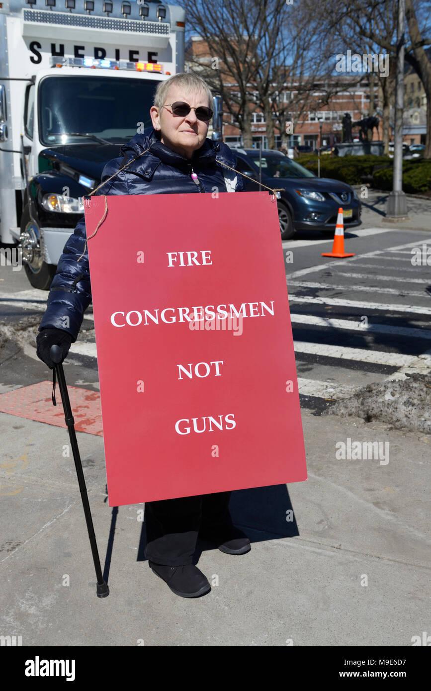 Mujer protestando por las leyes de control de armas, con sede en Morristown, NJ Imagen De Stock