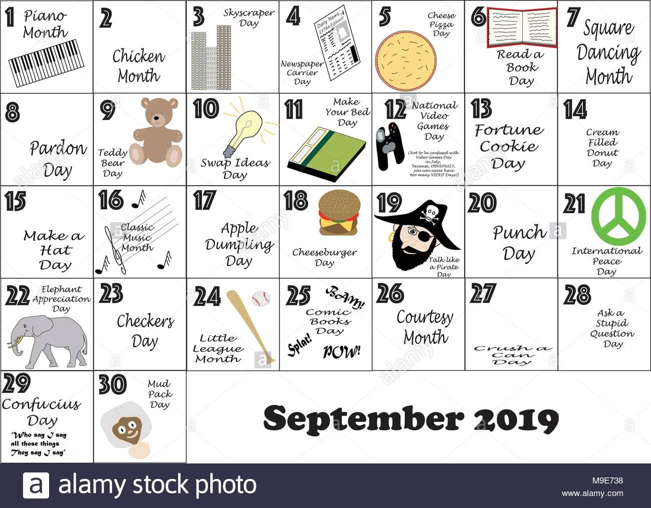 Calendario Diario 2019.Septiembre 2019 Calendario Mensual Ilustrada Y Comentada Con