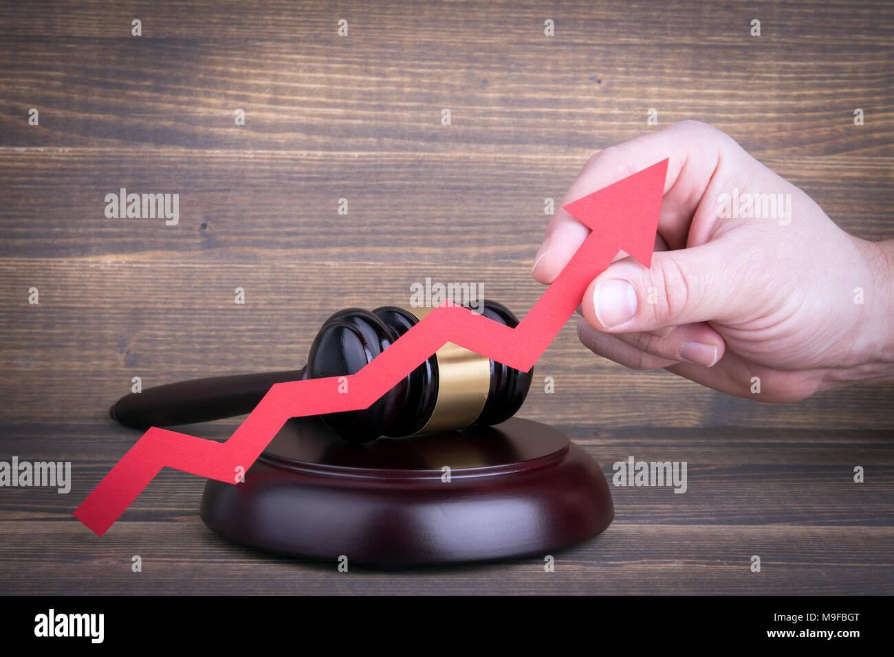 La reforma de la legislación, el incremento del crimen y la justicia concepto Foto de stock