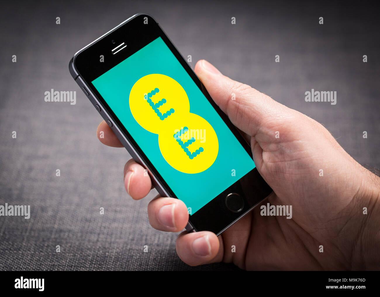 EE en un iPhone app Imagen De Stock