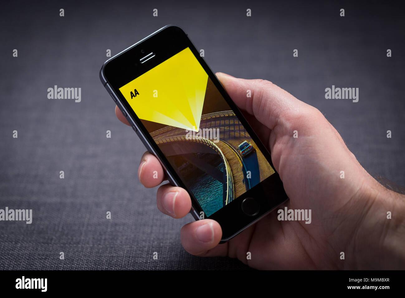 En un iPhone App AA Imagen De Stock