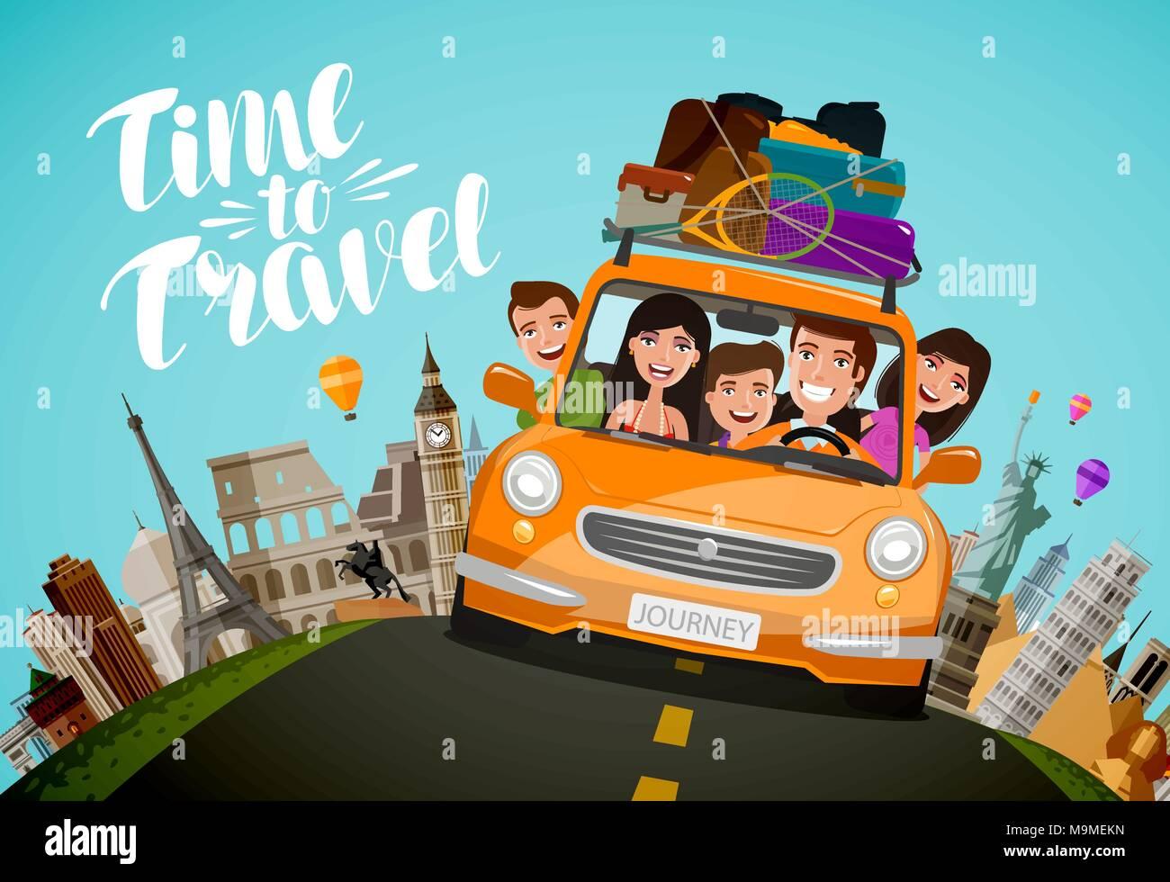 Vector Feliz Viaje Familia: Family Drive Cartoon Imágenes De Stock & Family Drive