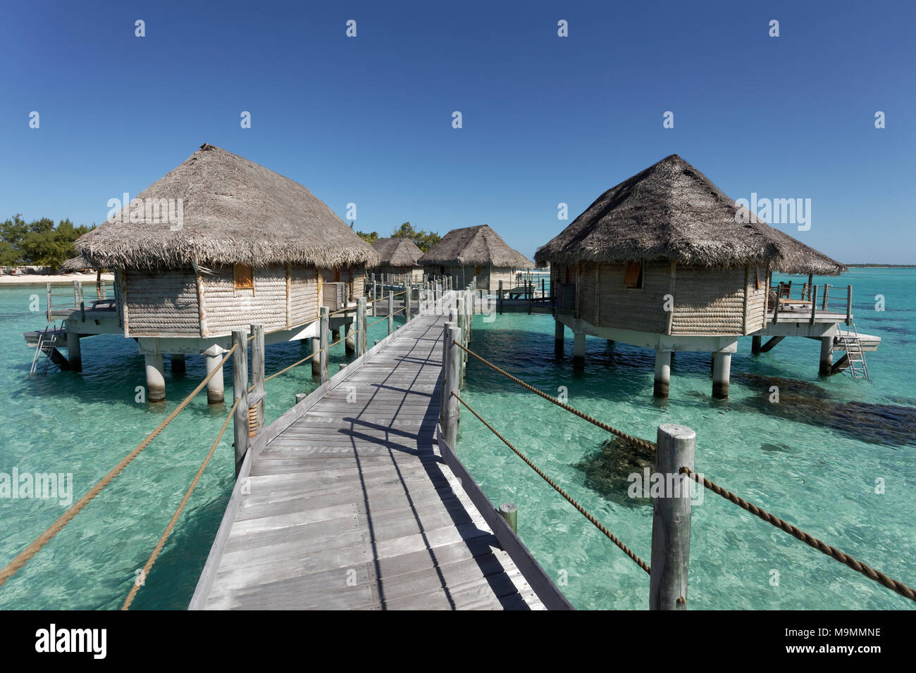 Bungalows, bungalows de agua en el muelle de laguna, Tikehau Pearl Beach Resort, Tikehau Atolón Archipiélago Tuamotu Imagen De Stock