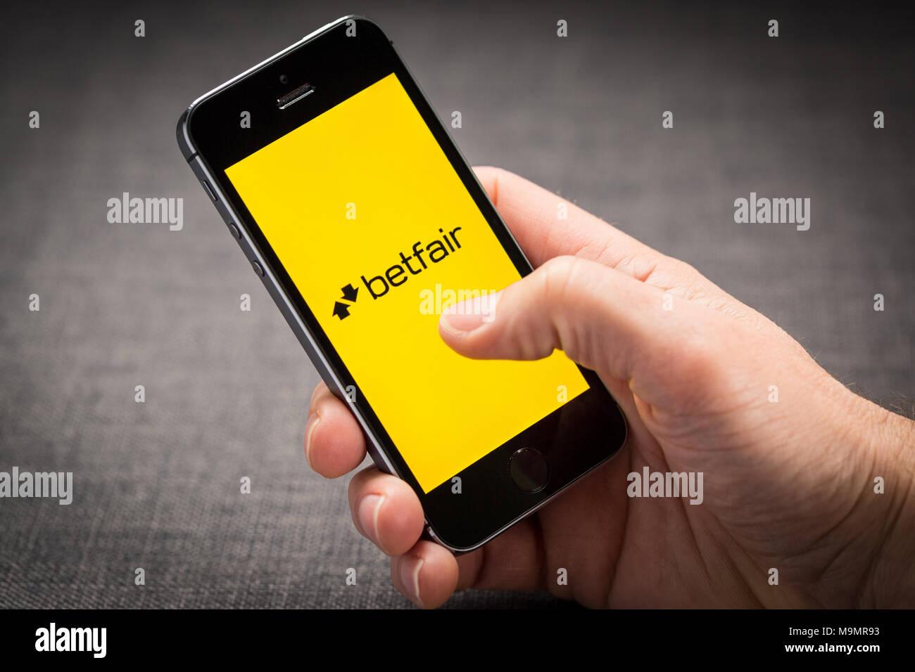 Betfair app en el iPhone Imagen De Stock