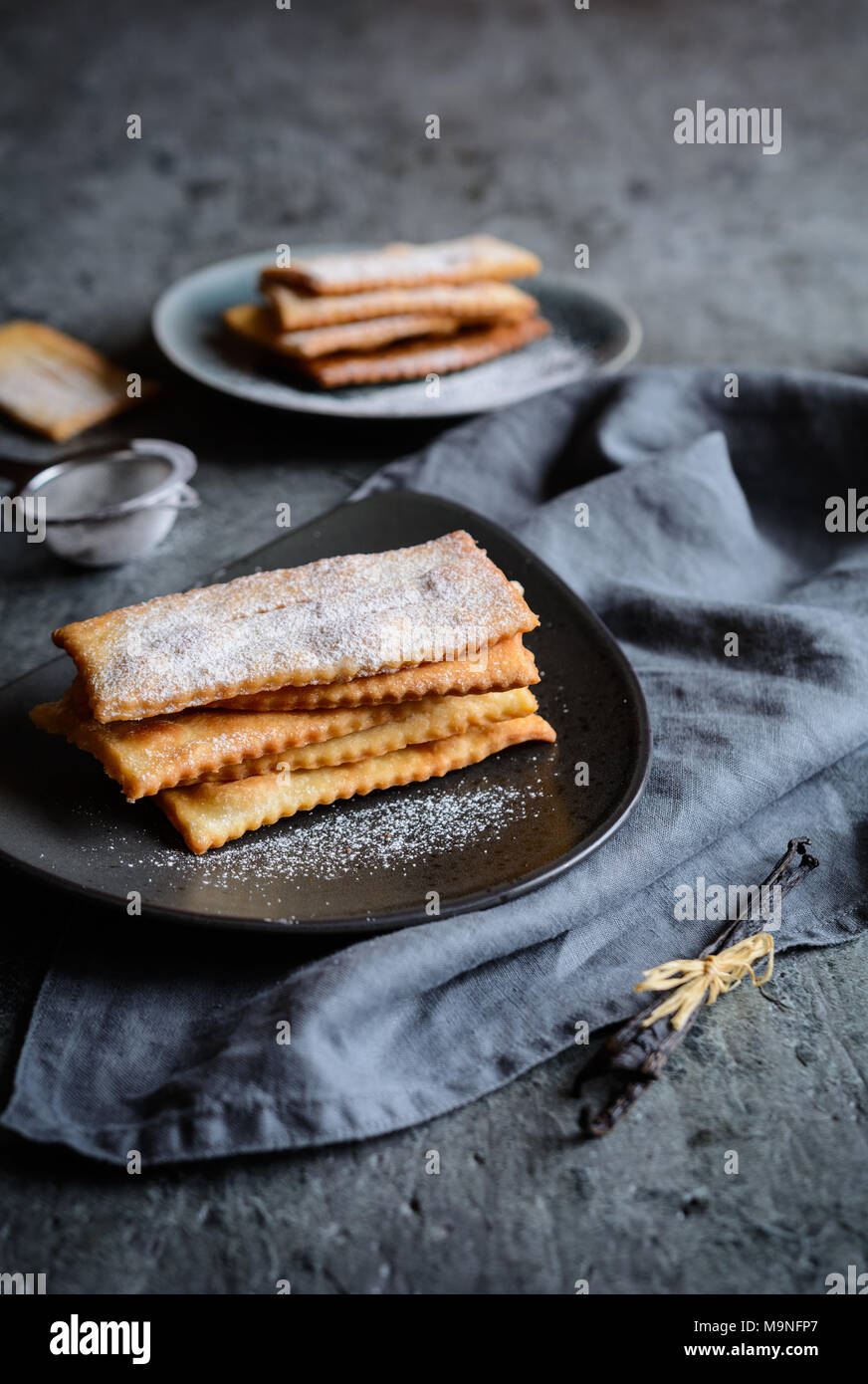 Chiacchiere - Carnaval italiano tradicional pastelería dulce Imagen De Stock