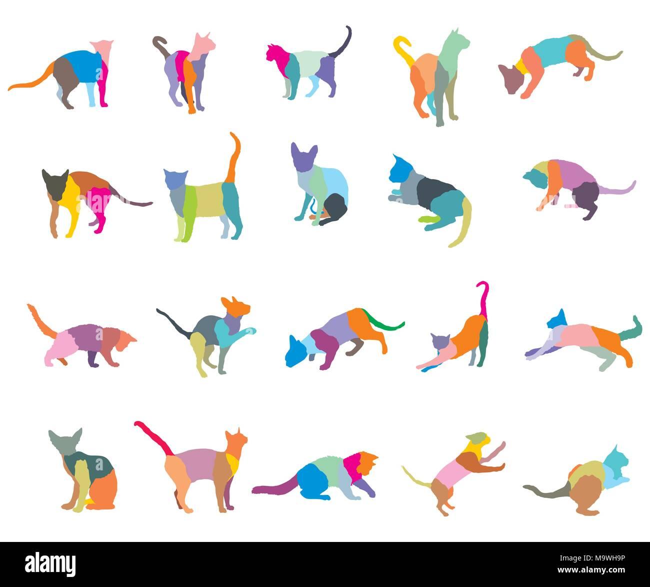 Conjunto De Mosaicos Coloridos Diferentes Razas De Gatos Siluetas