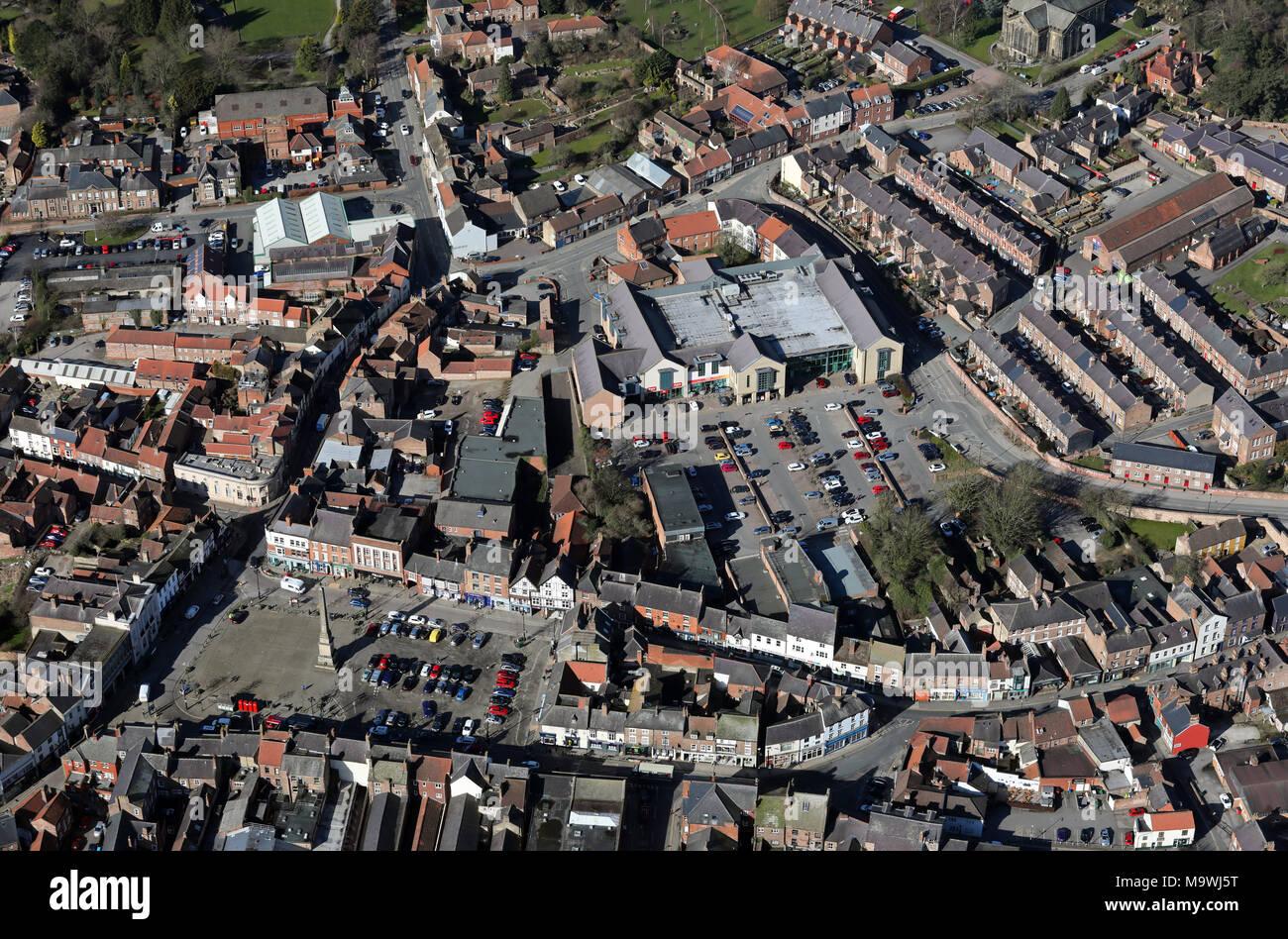 Vista aérea del supermercado, cabinas de Ripon Foto de stock