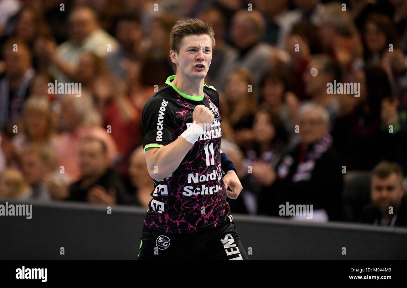 28 de marzo de 2018, en Alemania, en Flensburg: Balonmano, Champions ...
