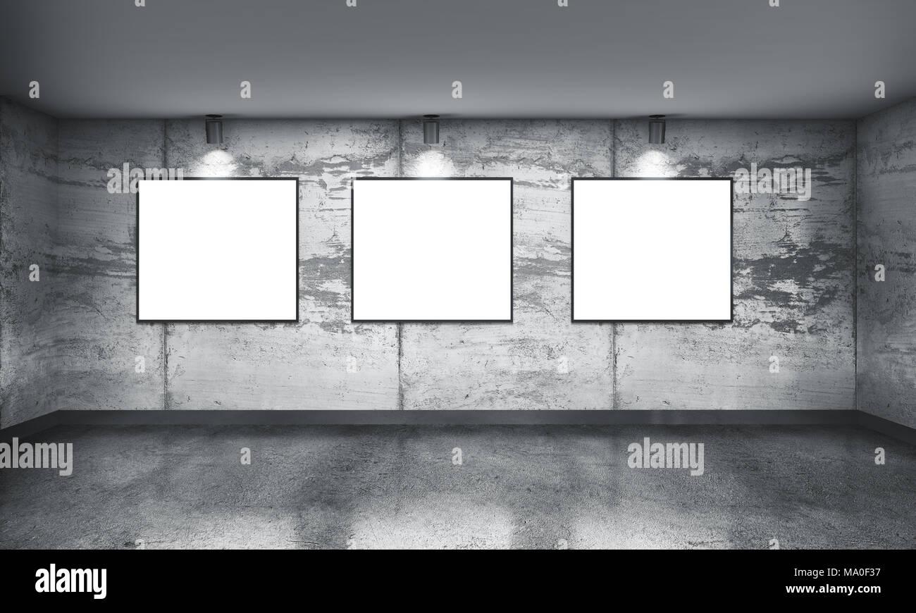 Galería de concreto moderna habitación con focos direccionales y ...