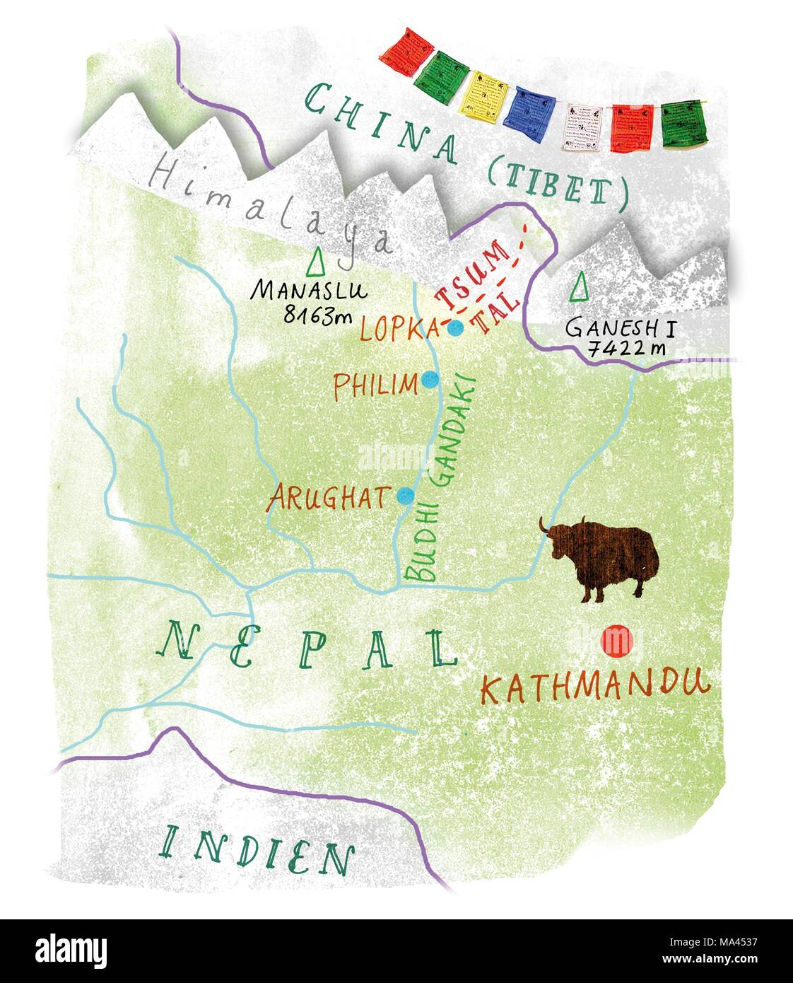 Cordillera Del Himalaya Mapa.Un Mapa De Nepal Mostrando El Valle Tsum El Himalaya El
