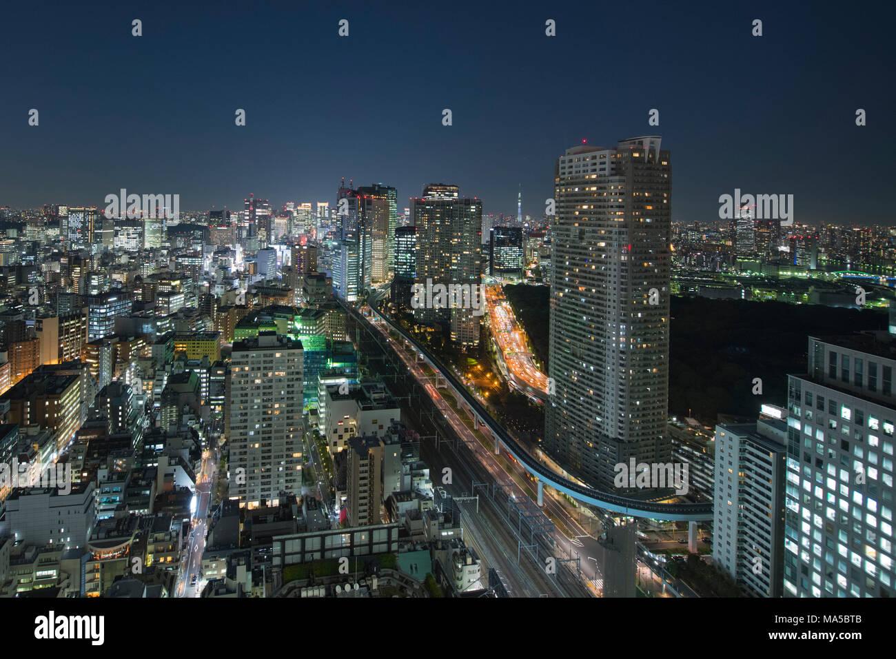 Asia, Japón Nihon, Nippon, Tokio, descripción de la ciudad, el estadio de Hamamatsucho, vista desde el World Trade Center de Tokio Imagen De Stock