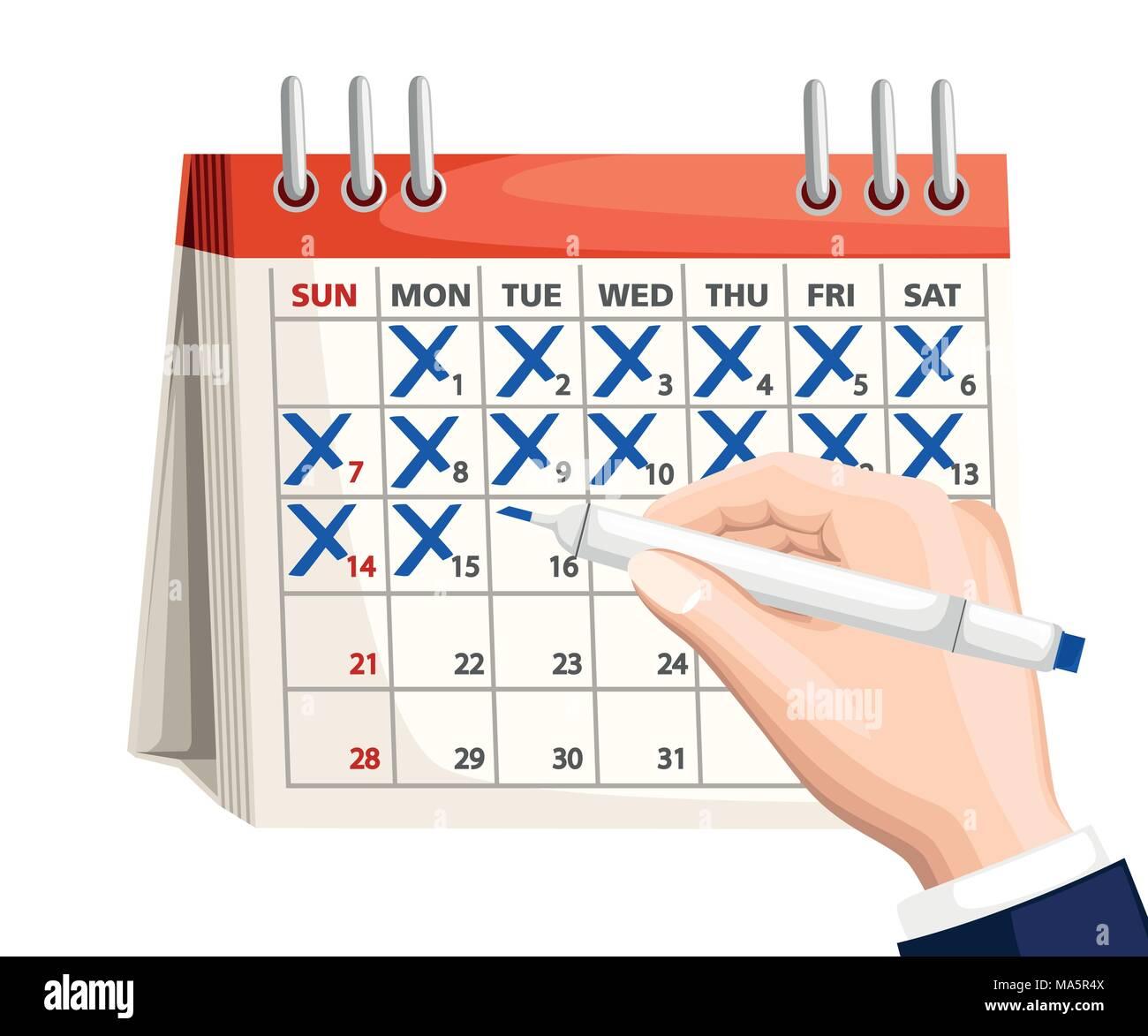 Marca Calendario.Empresario Mano Con Pluma Marcar El Calendario Calendario Con Marca