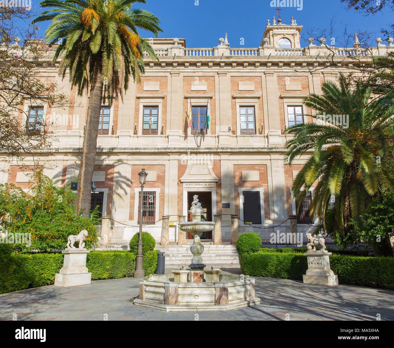 Sevilla - el Archivo General de Indias (Archivo general de Indas) edificio renacentista (1584 - 1629) diseñó Juan de Herrera. Imagen De Stock