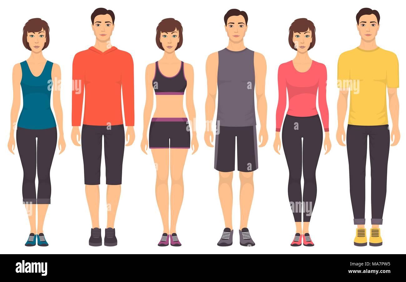 Las parejas en ropa deportiva. Hombres y mujeres jóvenes en pleno  crecimiento permanente en distintos deportes ropa para ejercicios en el  gimnasio 323ea70b0ba67