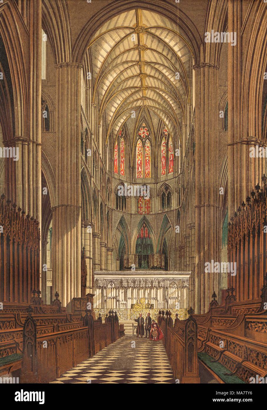 La sillería del coro de la Abadía de Westminster, del siglo XIX. Imagen De Stock