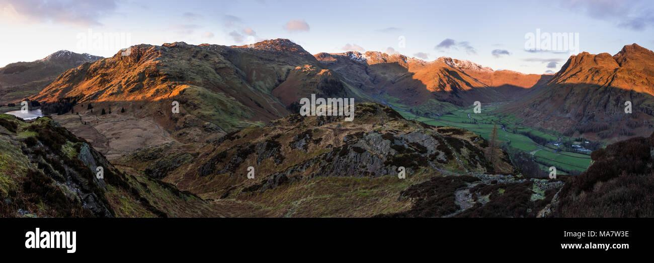 Panorama de gran Langdale, Lake District, RU Imagen De Stock