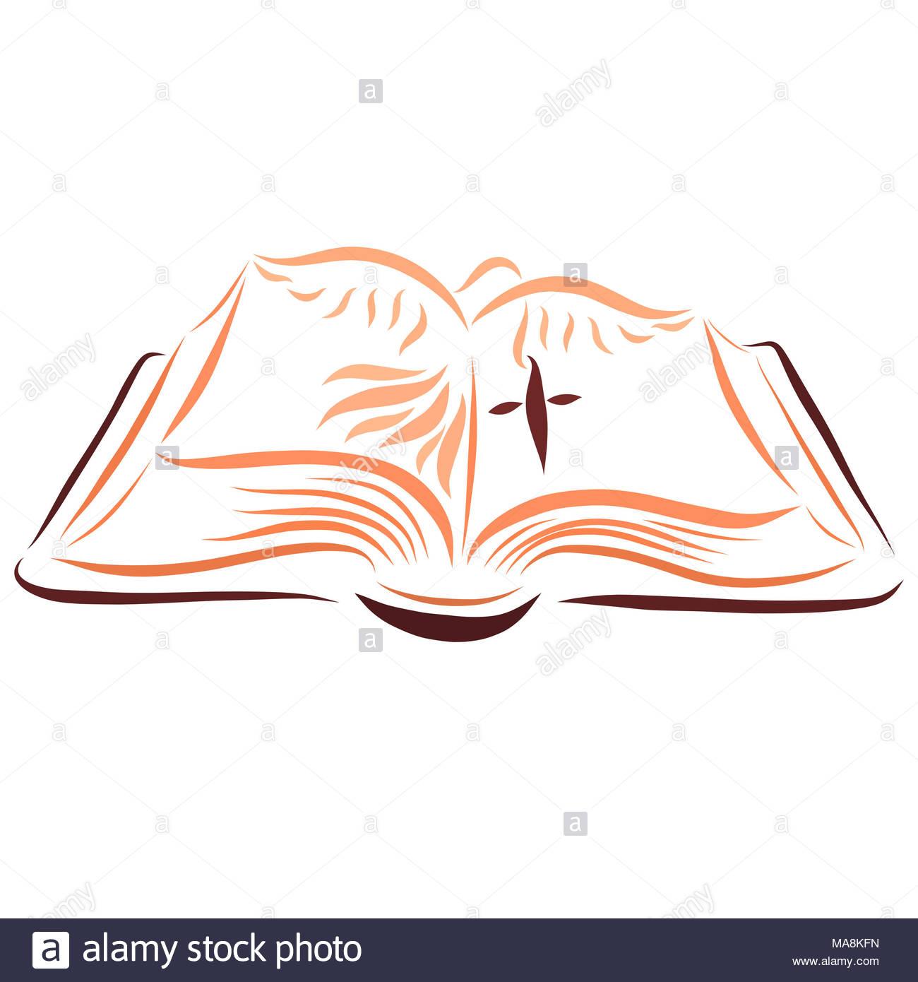Biblia Abierta La Cruz Y La Paloma Foto Imagen De Stock