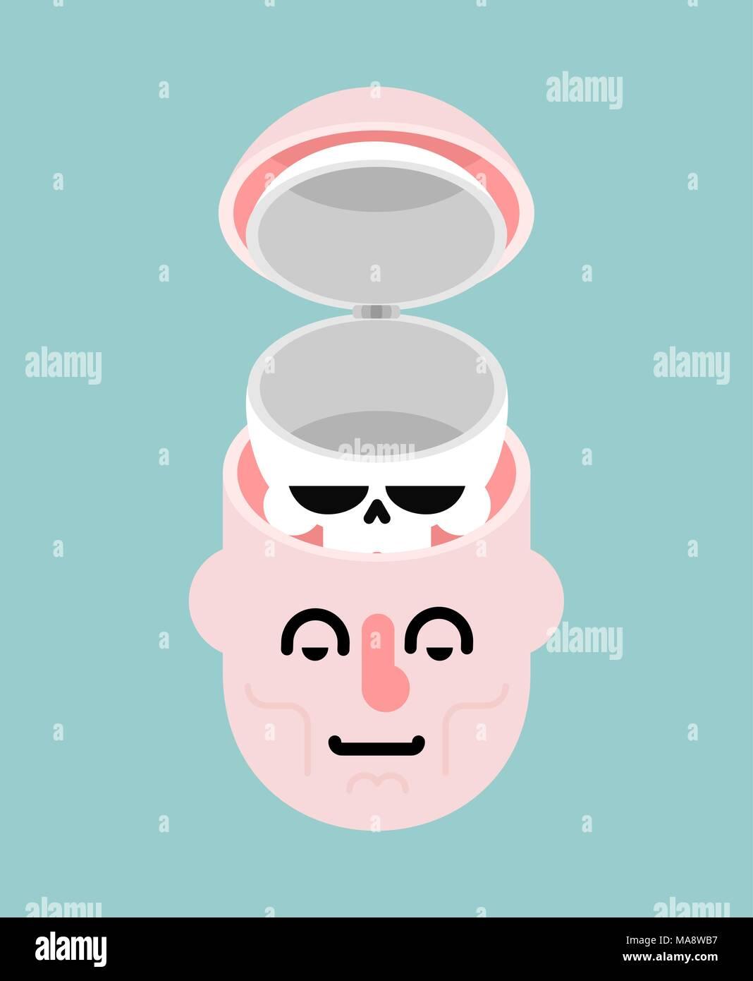 Estructura de la cabeza. Cráneo y cara. Abrir la cabeza. Imagen De Stock