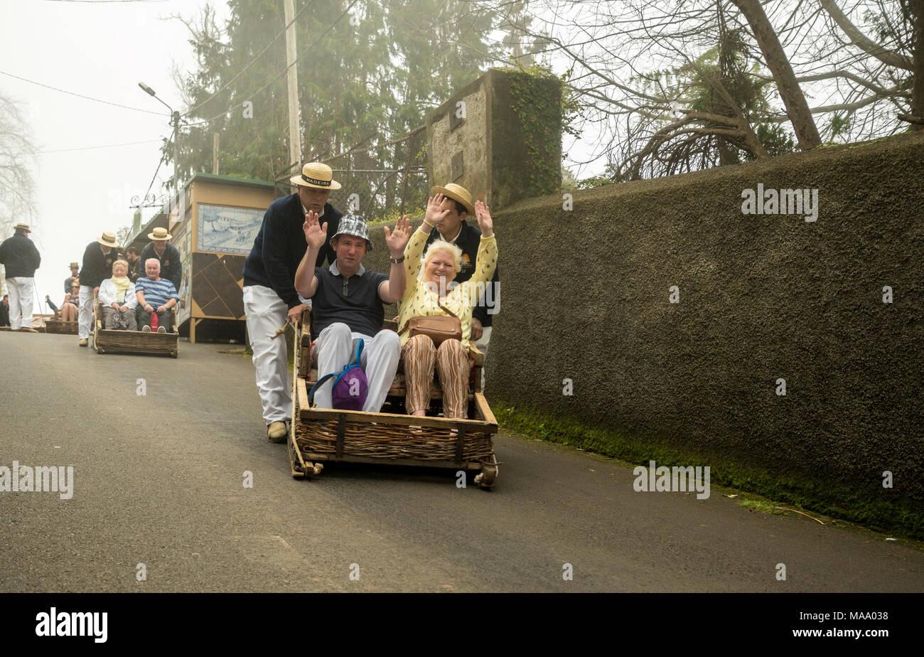 Carro do Monte es tradicional cesta trineo Imagen De Stock