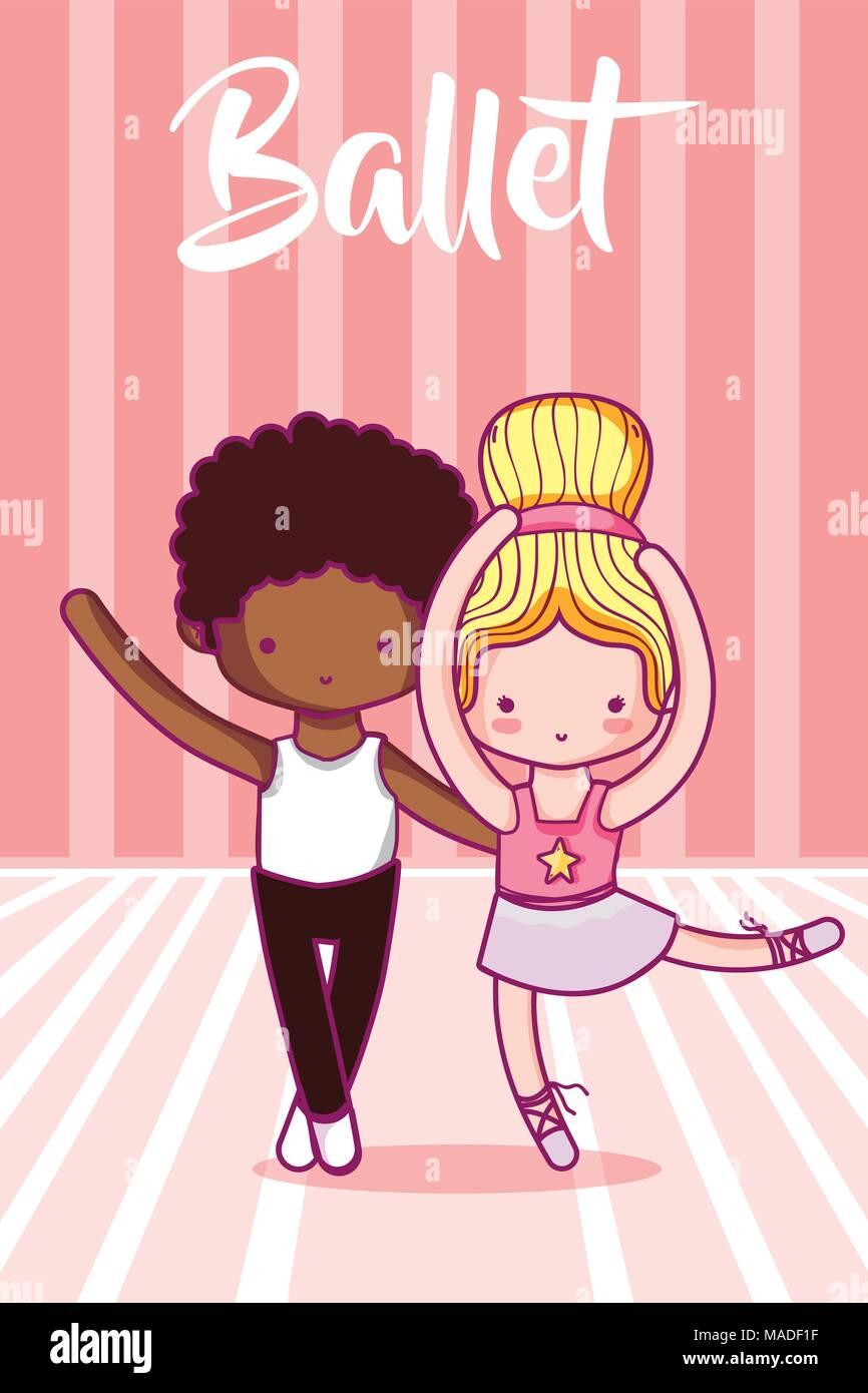 Cute Dibujos Animados Bailarines De Ballet Para Niños Ilustración