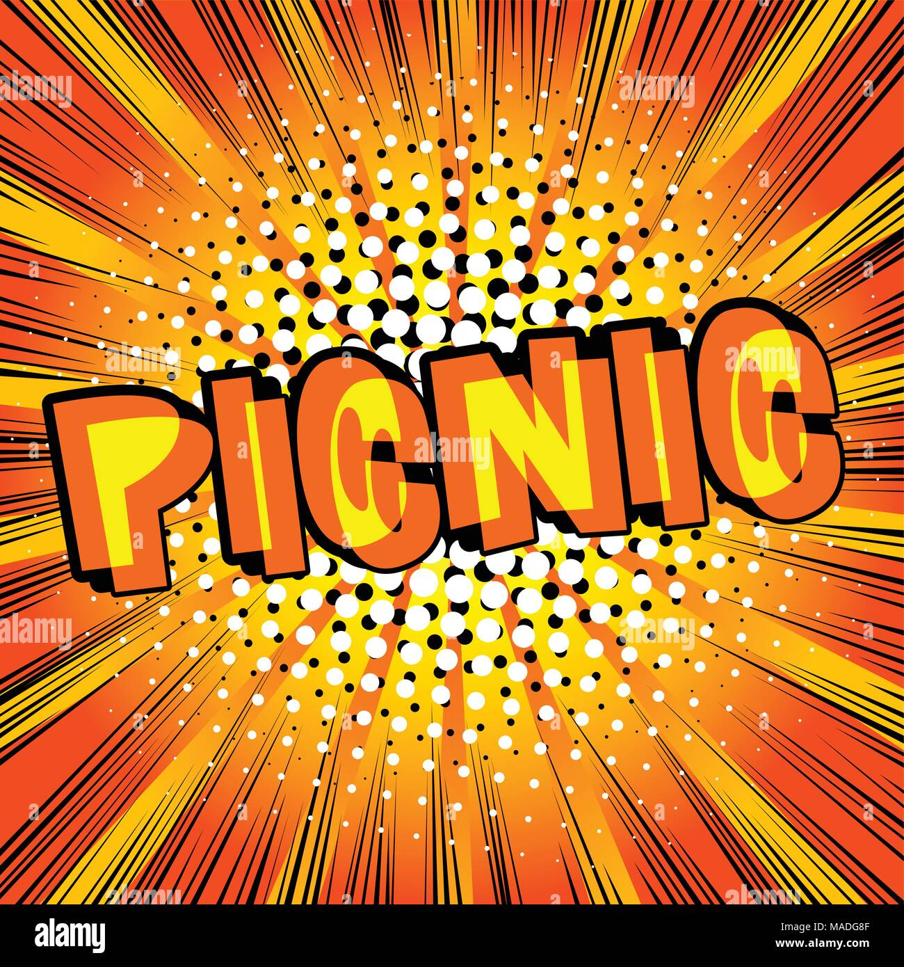 Picnic - estilo cómic palabra sobre fondo abstracto. Imagen De Stock