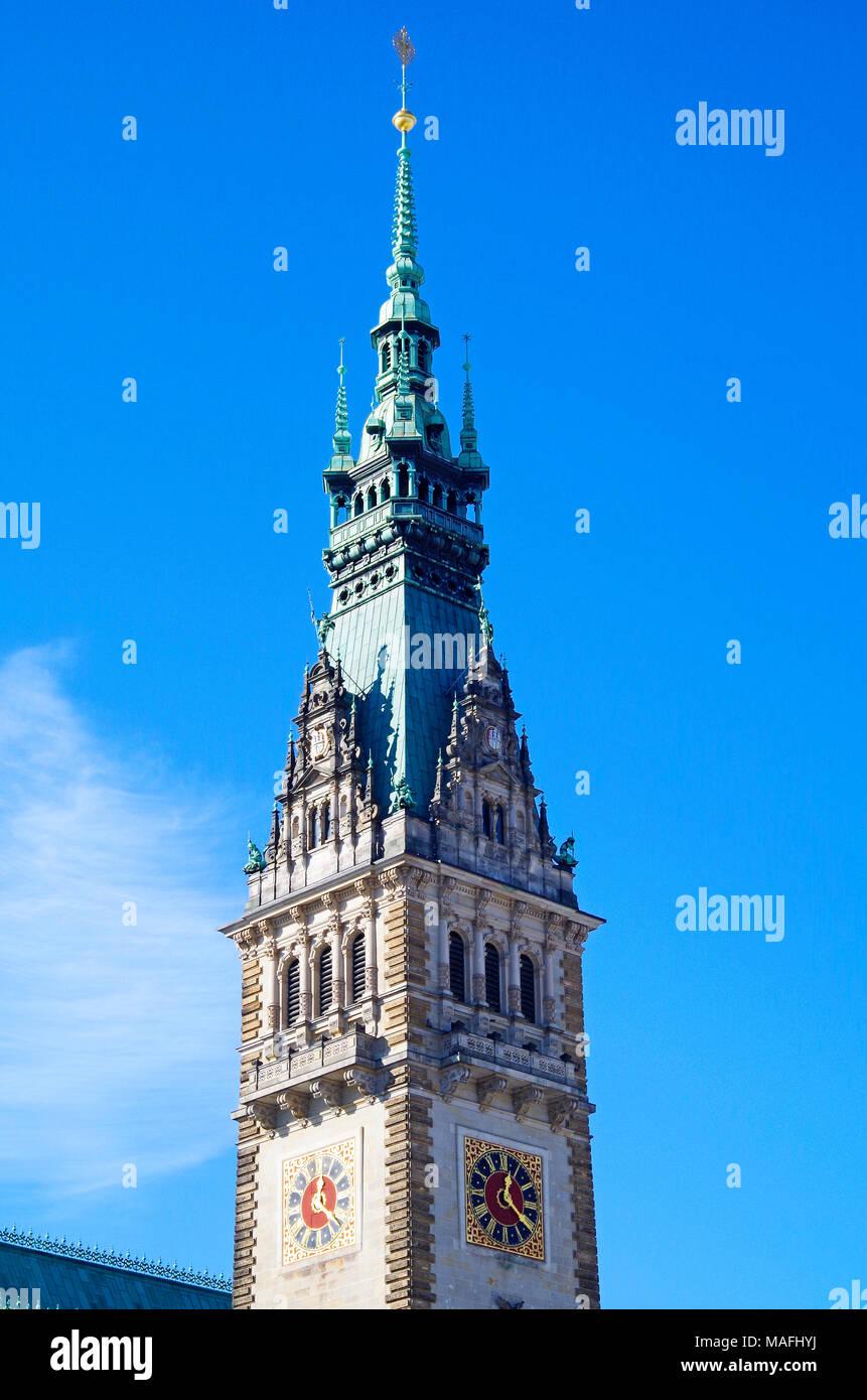 El Ayuntamiento de Hamburgo, Rathaus, la sede del gobierno local de la Ciudad Libre y Hanseática de Hamburgo, Alemania, y uno de los 16 parlamentos estatales de Alemania. Foto de stock