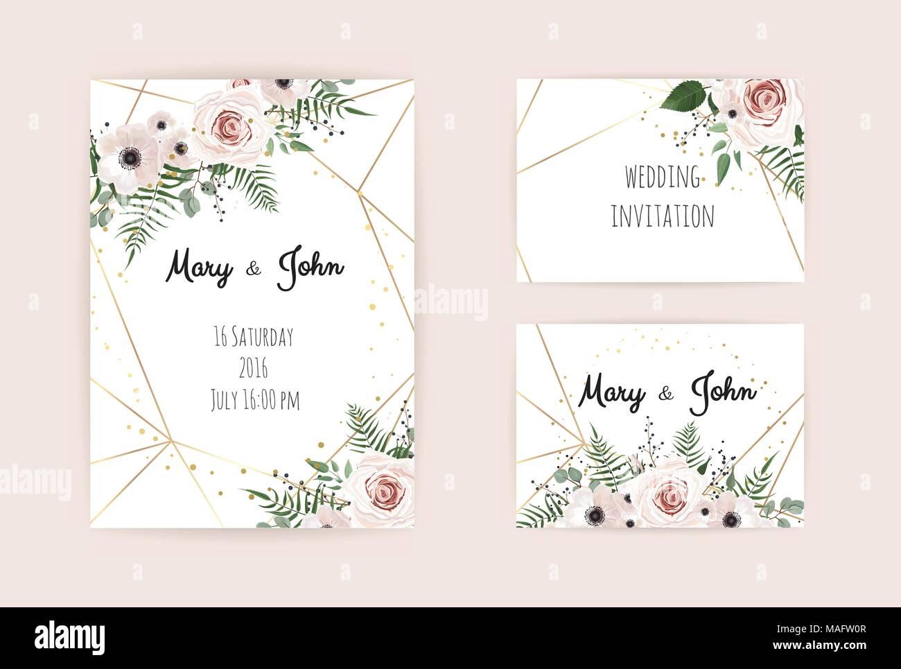 Invitación De Vectores Con Elementos Florales Artesanales