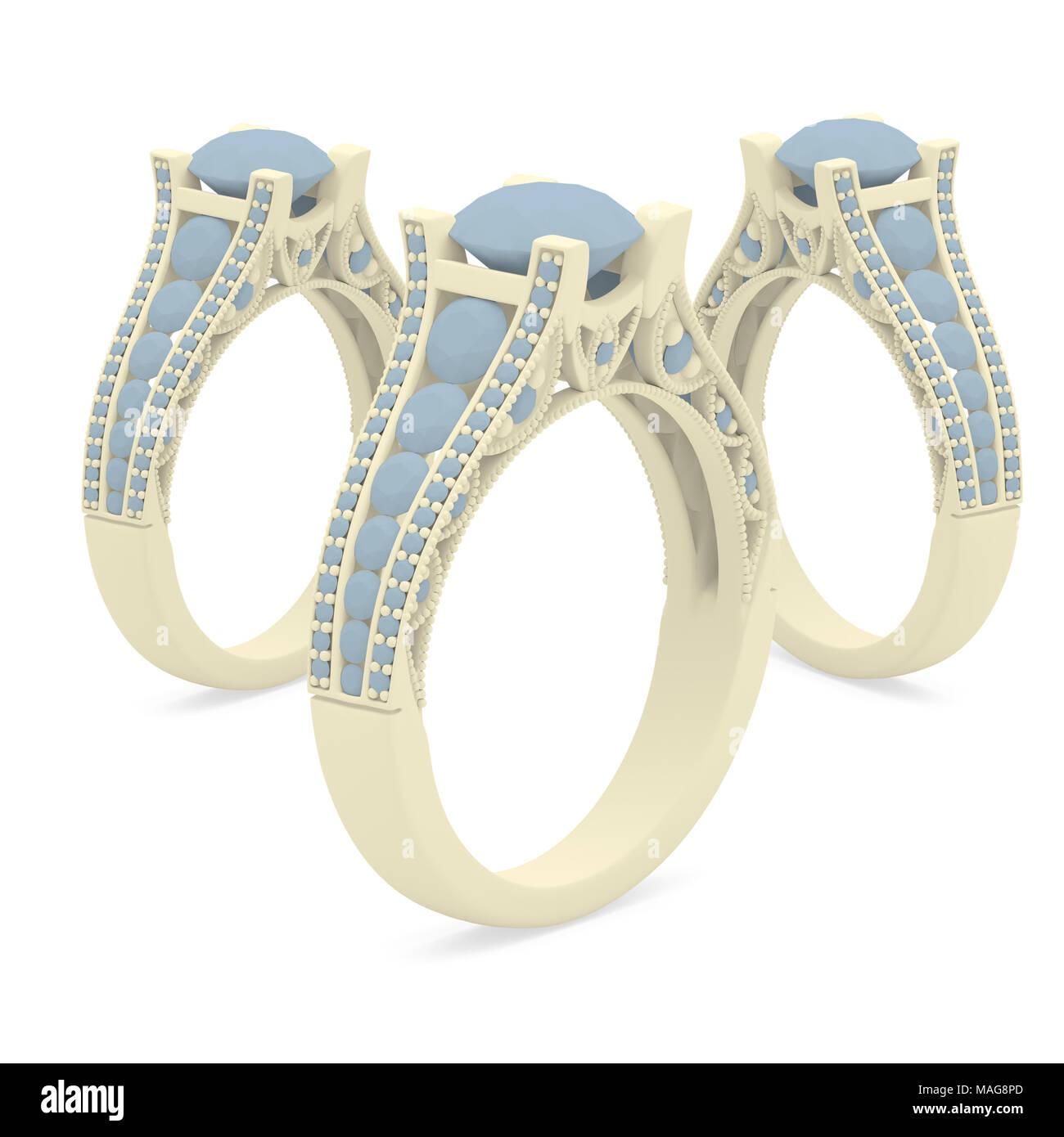 61de109c9844 Material plástico joyas anillos de renderizado 3D con sombras en blanco  Imagen De Stock