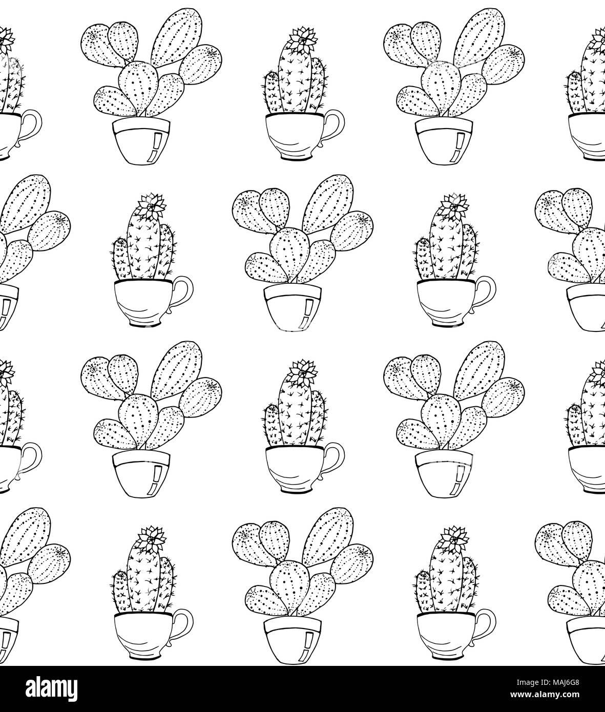 Cactus Flower Vector De Fondo Patrón Sin Fisuras Con Cactus
