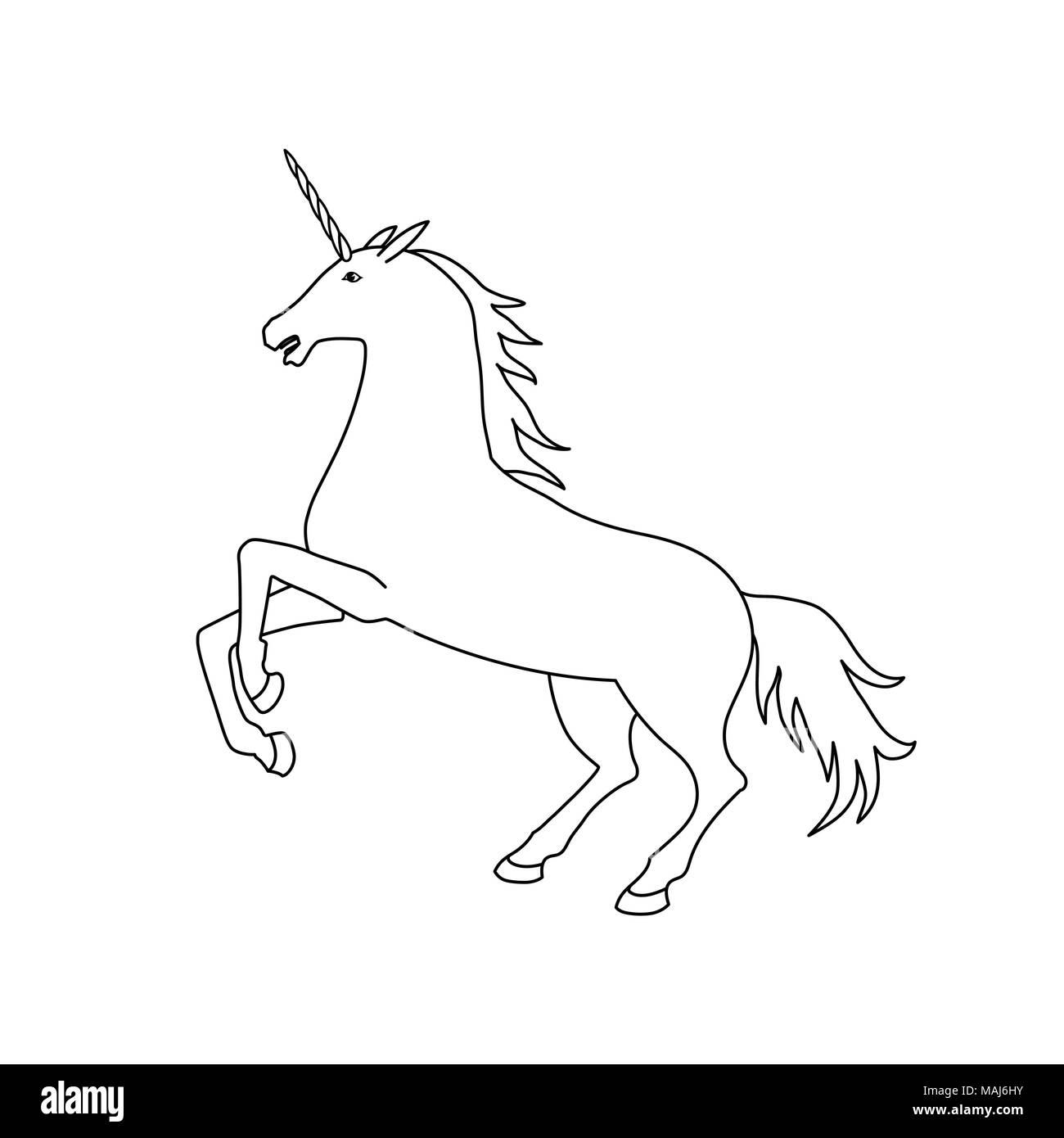 Ilustración vectorial de unicornio. Contorno Unicornio blanco y ...