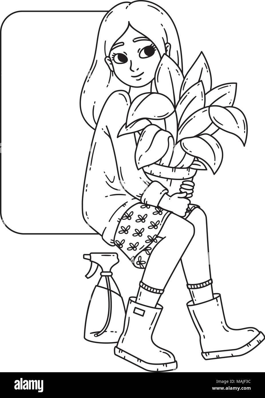 Chica Con Planta En Maceta Ilustración Vectorial Aislado