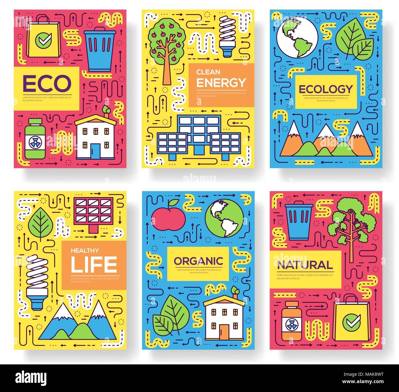 Vector de energía limpia tarjetas folleto línea delgada. recursos ...