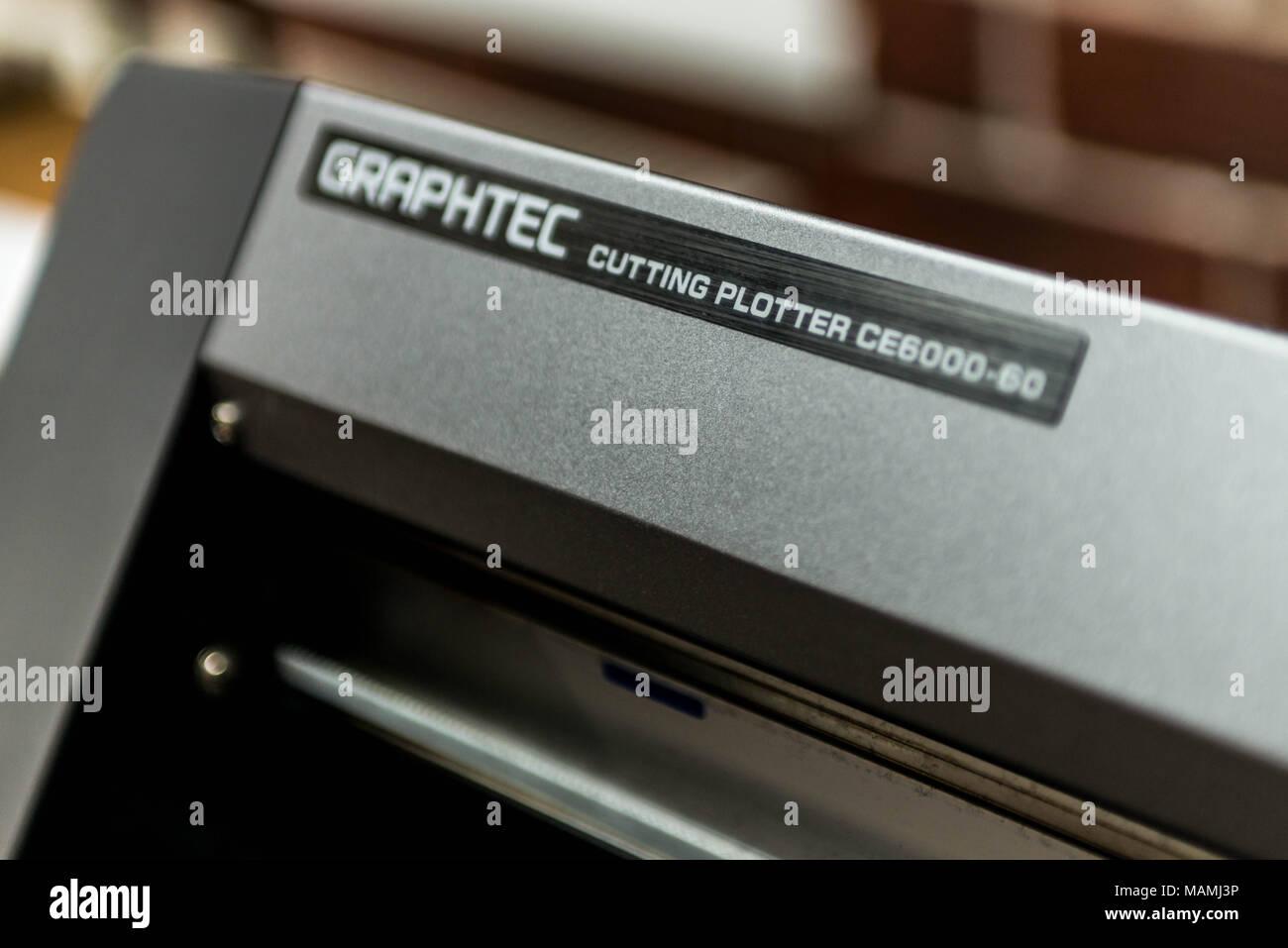 Sistema de impresión digital de Graphtec - plotter para imprimir una amplia gama de aplicaciones en formato superwide foils Imagen De Stock