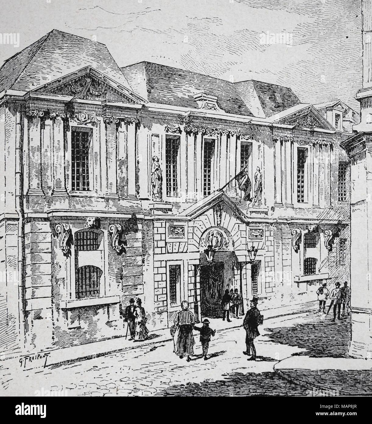 Francia. París. Archivo histórico en el hotel Carnavalet. Grabado del siglo XIX. Imagen De Stock