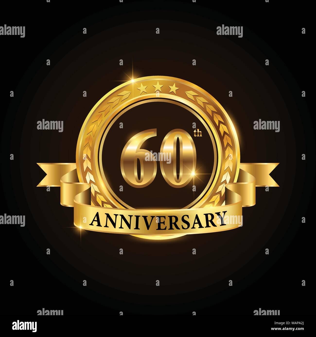 60 Años Aniversario Logotipo Bodas De Oro Emblema Con Cinta Diseño De Folleto Panfleto Revista Folleto Cartel Web Invita Imagen Vector De Stock Alamy