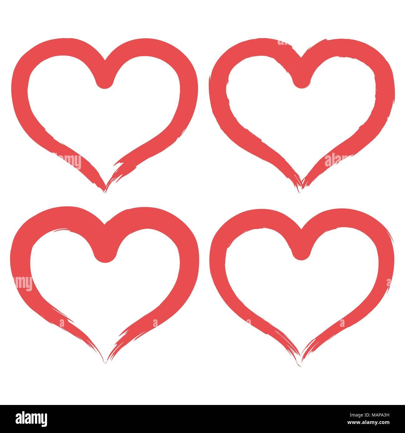 Conjunto de pincel icono con forma de corazón. Etiqueta de dibujo a ...