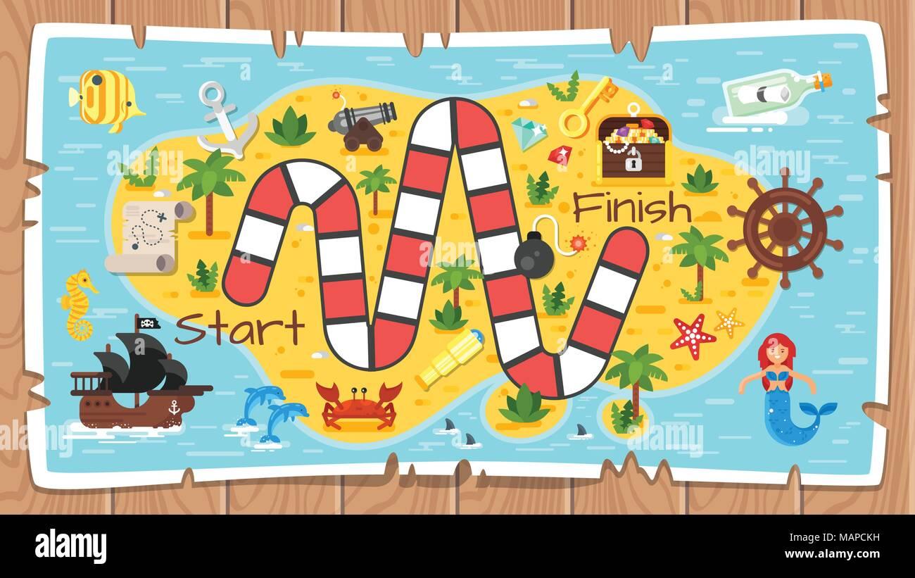 Estilo plano Vector ilustración de niños juego pirata plantilla ...