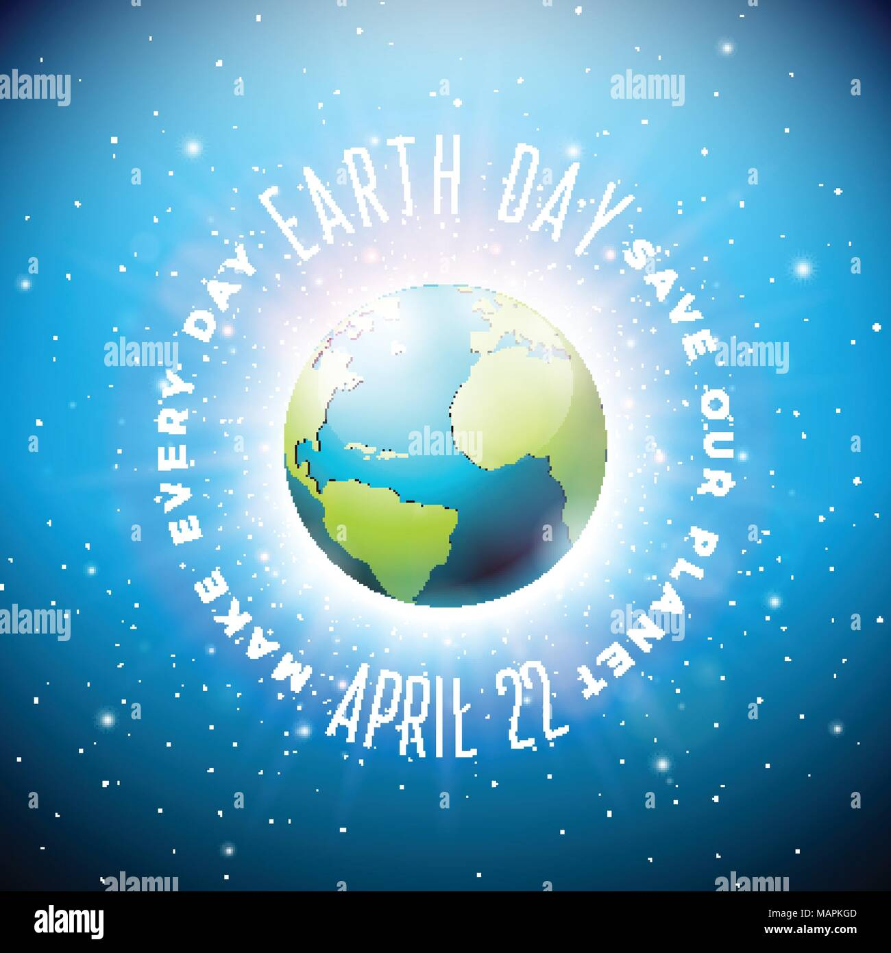 El día de la tierra de la ilustración con el planeta y rotulación. Mapa del mundo de fondo en concepto de ambiente el 22 de abril. Diseño vectorial para la pancarta, póster o tarjeta de felicitación. Imagen De Stock