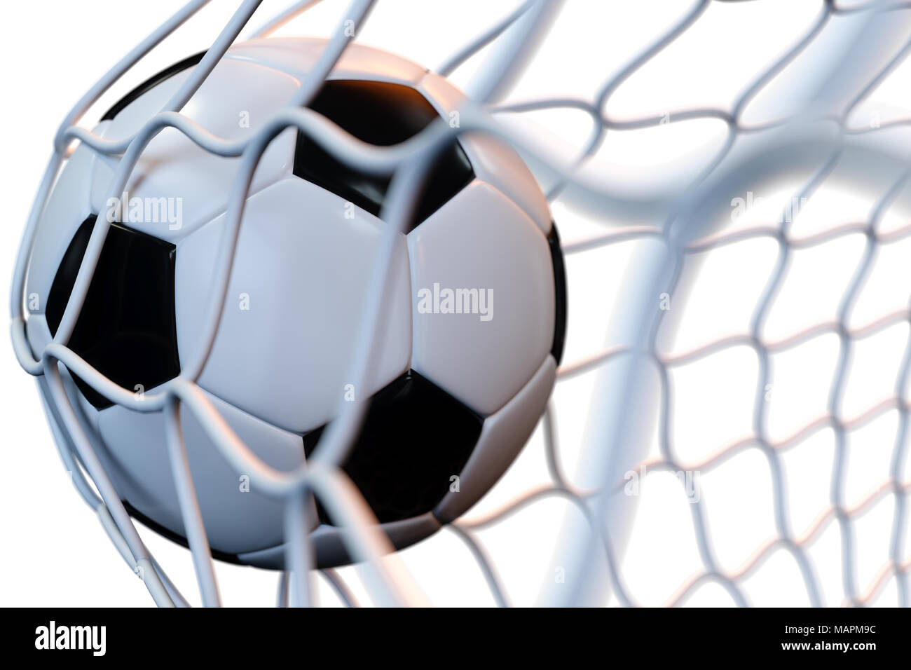 3D rendering una pelota de fútbol en la portería en movimiento. Balón de  fútbol en 0151ef43d1e2f