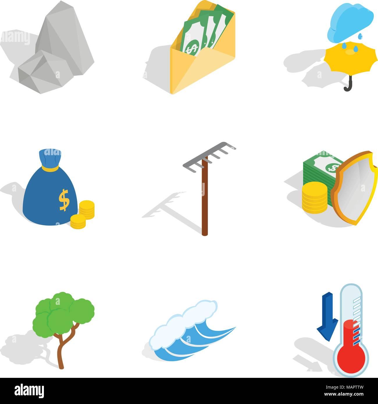 Sostenible, conjunto de iconos de estilo isométrico Ilustración del Vector