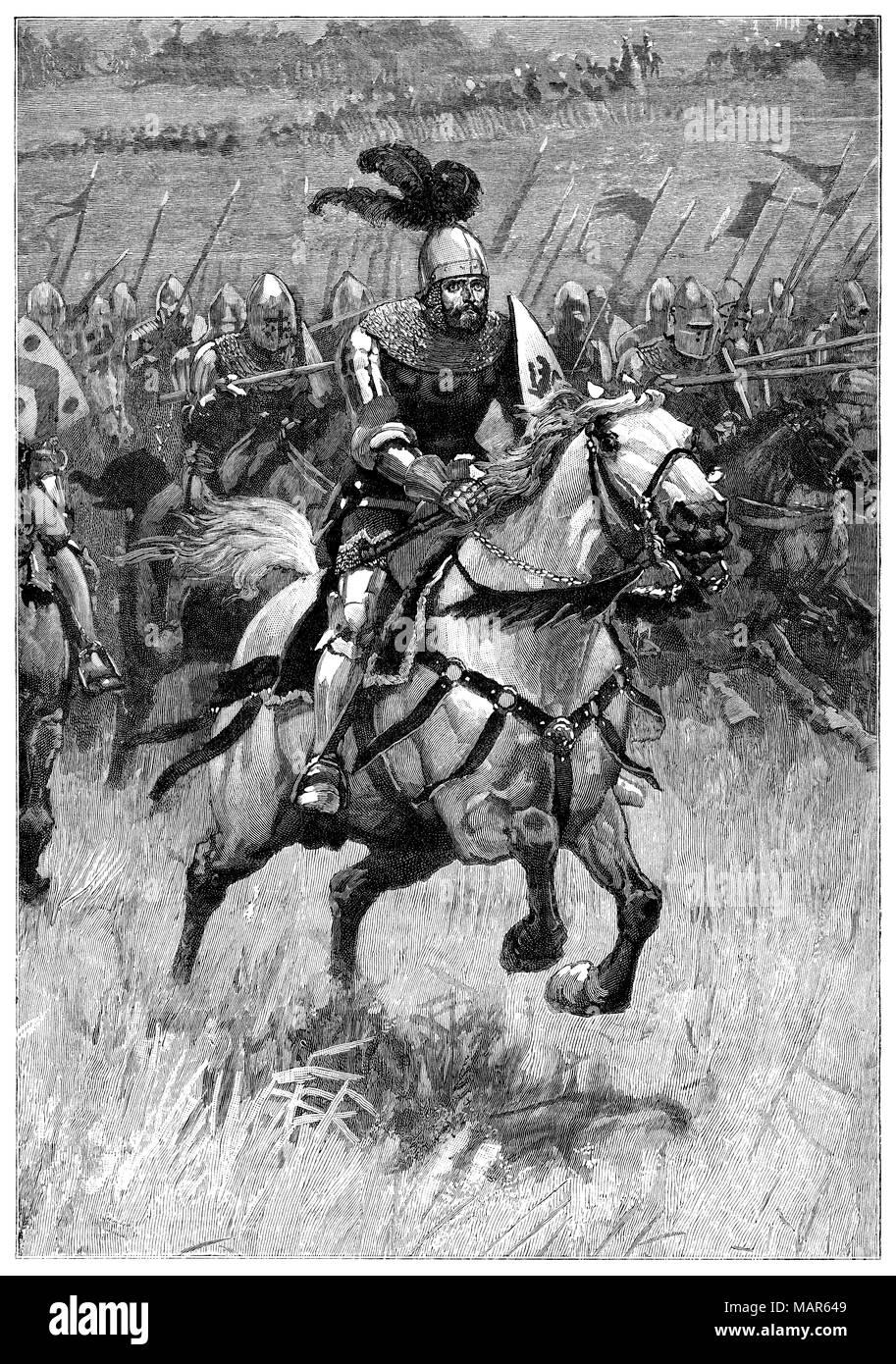 Grabado en 1891 por H. M. Paget para ilustrar el poema la carga! Por Robert Richardson en el propio papel del muchacho. Imagen De Stock