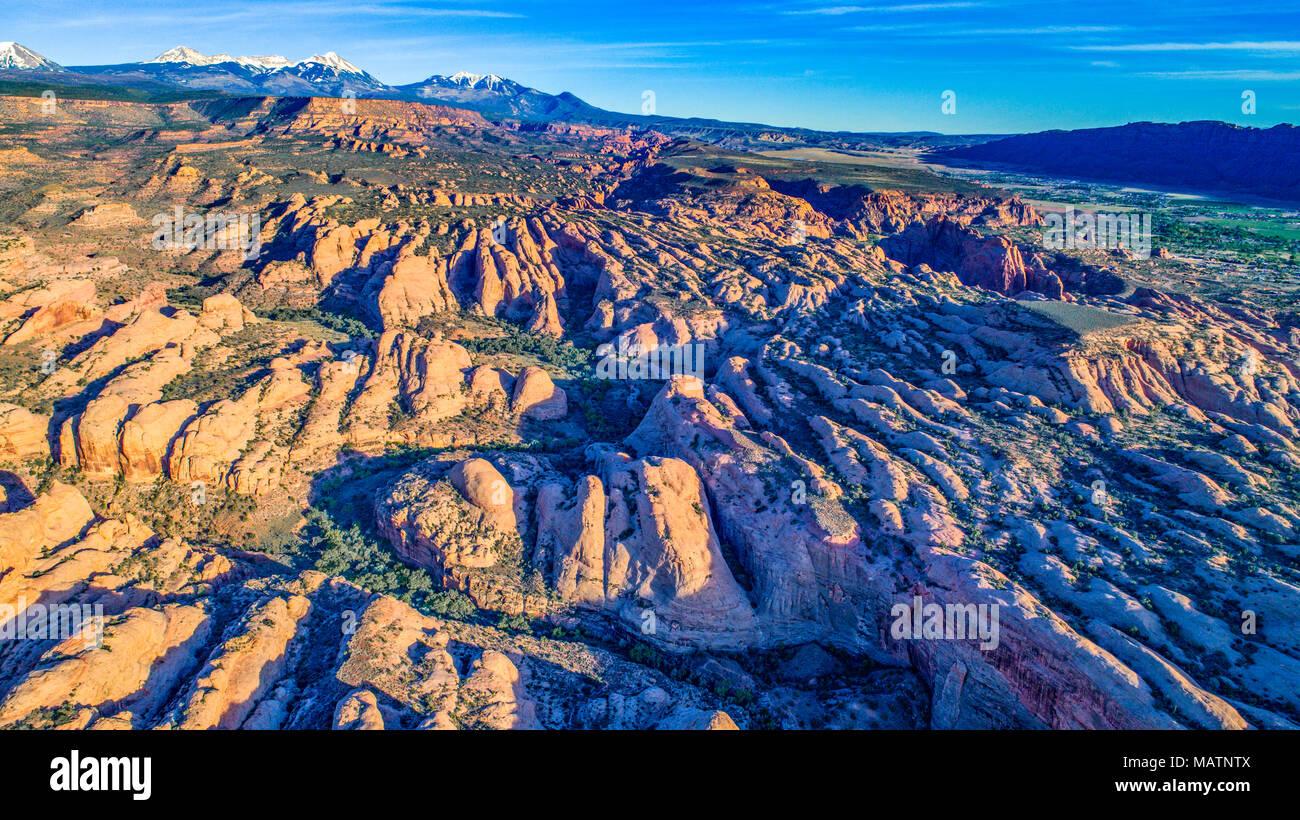 Aletas de roca encima de Mill Creek Canyon, Utah. Propuso La Sal aguas desierto, cerca de Moab. Foto de stock