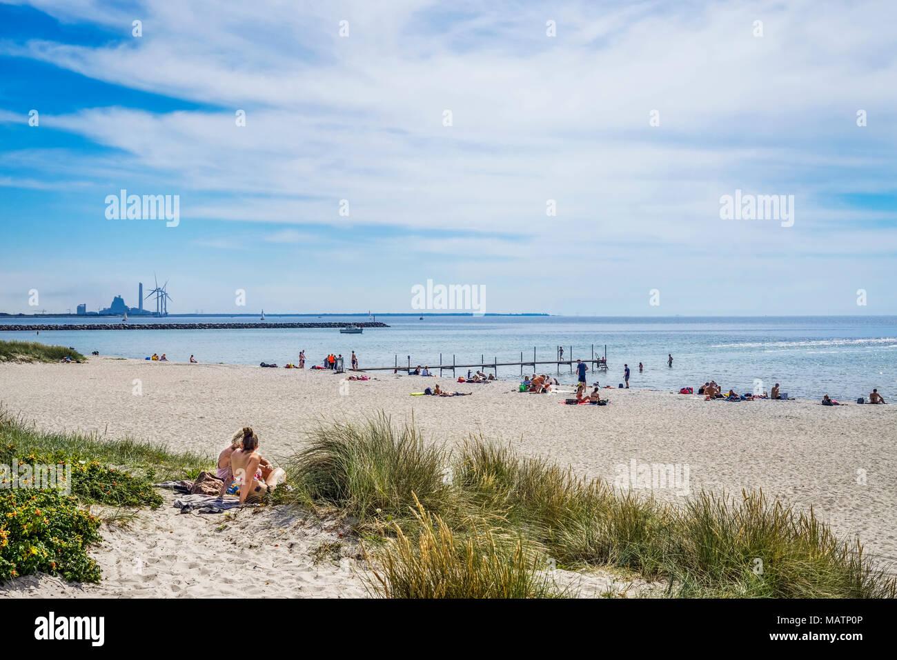 La playa del Mar Báltico en Ishøj en la southwester Køge Bay, un suburbio de Copenhague con las instalaciones de alta tecnología Avedøre Power Station en la ba Imagen De Stock