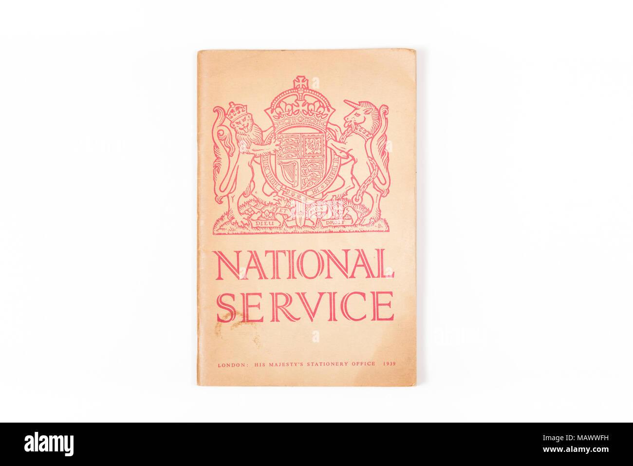 Folleto de Servicio Nacional del Reino Unido de fecha 1939 Foto de stock