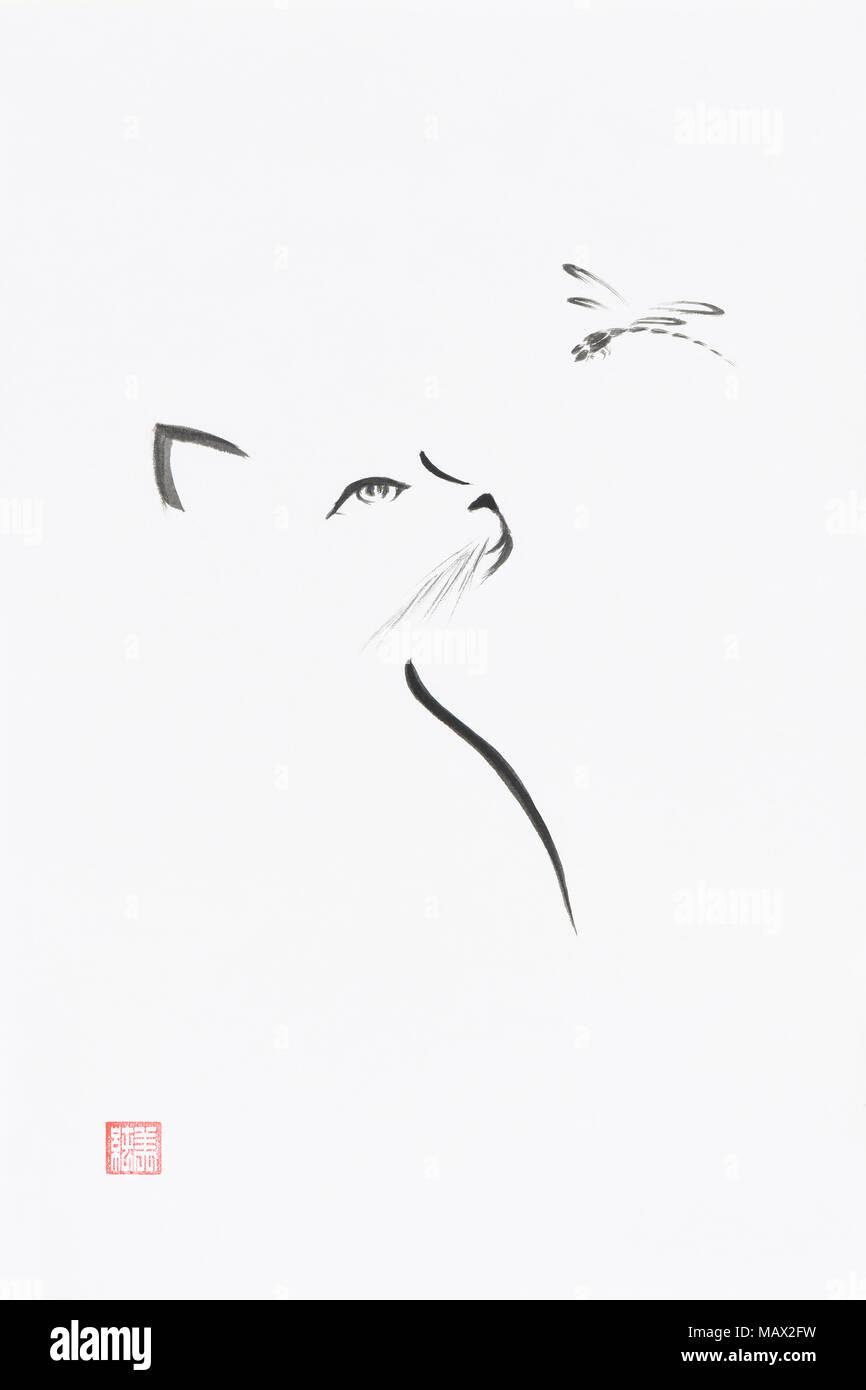 Gato mirando la libélula artística ilustración de estilo oriental. Cute minimalista Zen Japonesa Sumi-e pintura de tinta sobre papel de arroz blanco backgroun Imagen De Stock